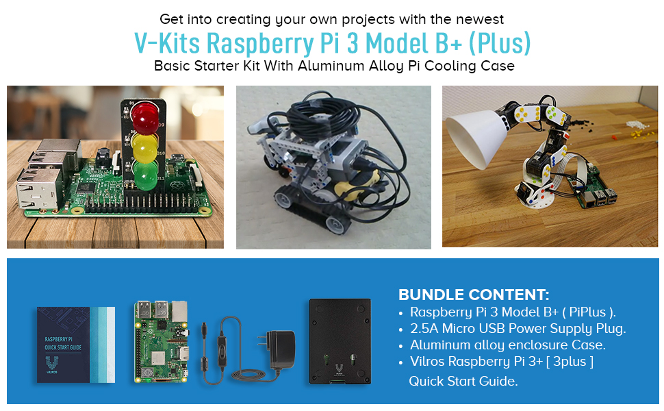 V-Kits Raspberry Pi 3 Model B+ (Plus) Basic Starter Kit with Aluminum Alloy Pi Cooling Case [2018 Model]