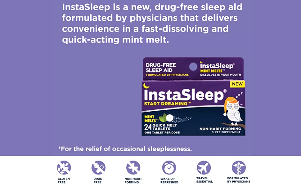 instant sleep, instasleep, mint melts, sleep aid, zzzquil, unisom