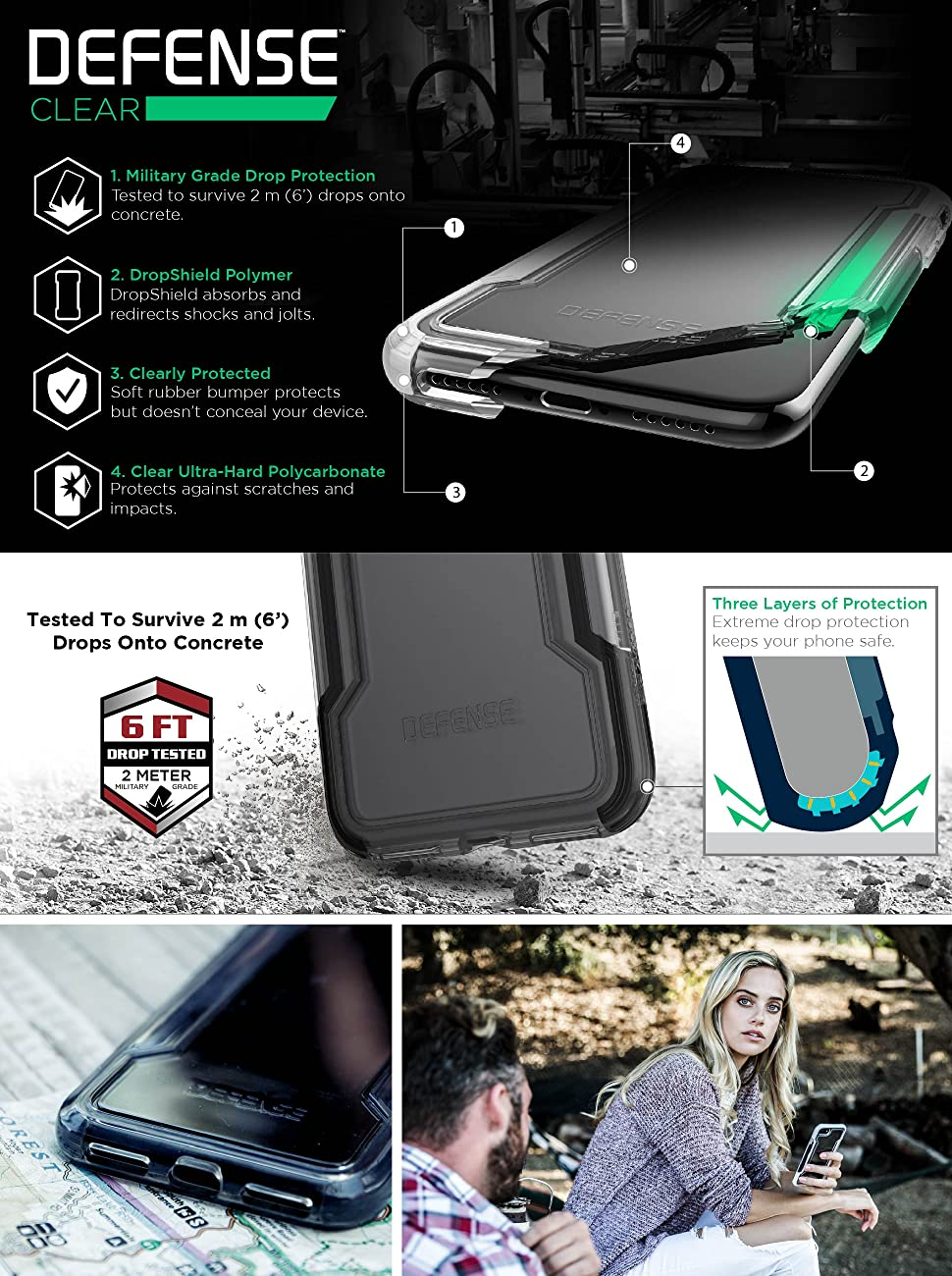 rubber clear case protective for iphone 8 8plus military grade drop proof apple iphone