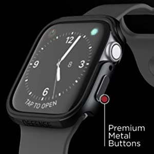 protects apple watch 44mm premium metal aluminum buttons frame bumper stylish thin