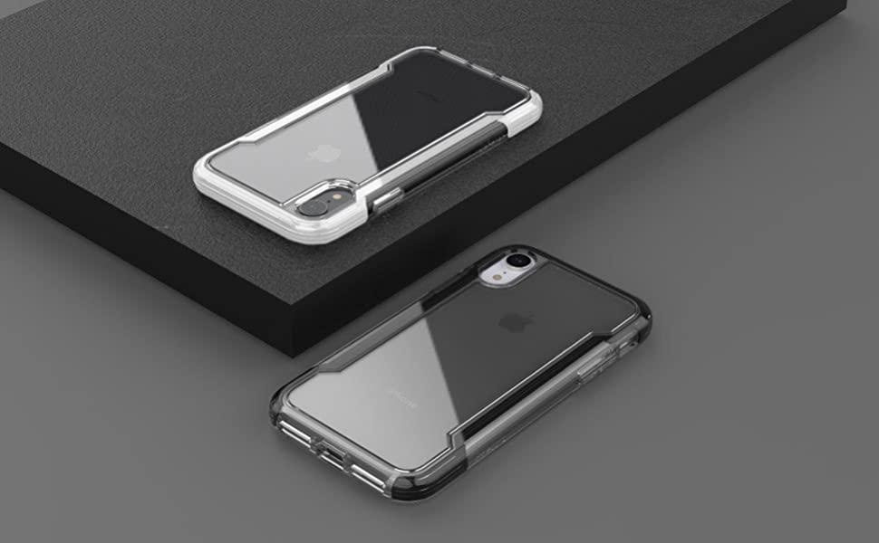 black white simple clear iPhone Xr case prevents scratches breaks drop protection impact shock