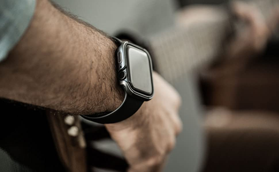 charcoal silver frame edge protection compatible universal look gray apple watch bumper resistant