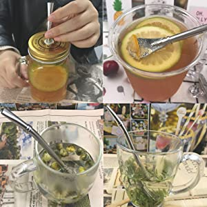 tea filter spoon straws