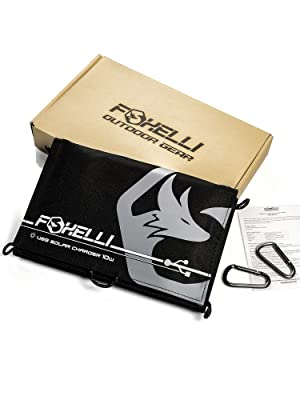 foxelli 10w solar charger package