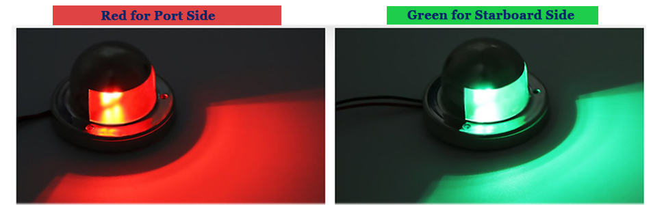 New Marine Sailing Lights Replacement for Bow Side,Port DC 12V Yacht Red and Green Starboard SEEU AGAIN LED Navigation Lights Deck Mount Chandlery Boat Pontoons 1 Pair Skeeter