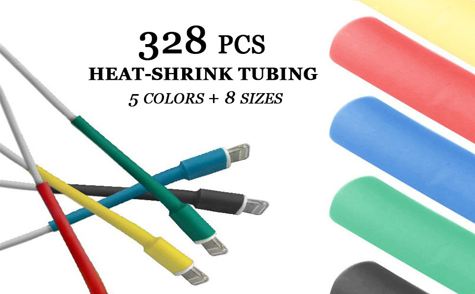 328PCS Set Heat Shrink Tubing 2:1 Wire Wrap Tubing Electrical Cable Connection