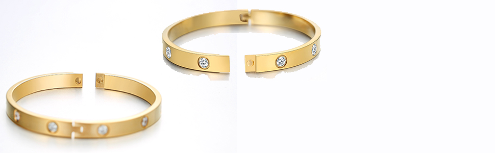 98d96610fa923 MVCOLEDY Jewelry 18 K Gold Plated Bangle Bracelet CZ Stone Hinged Stainless  Steel with Crystal Bangle for Women Size 6.7 Inches