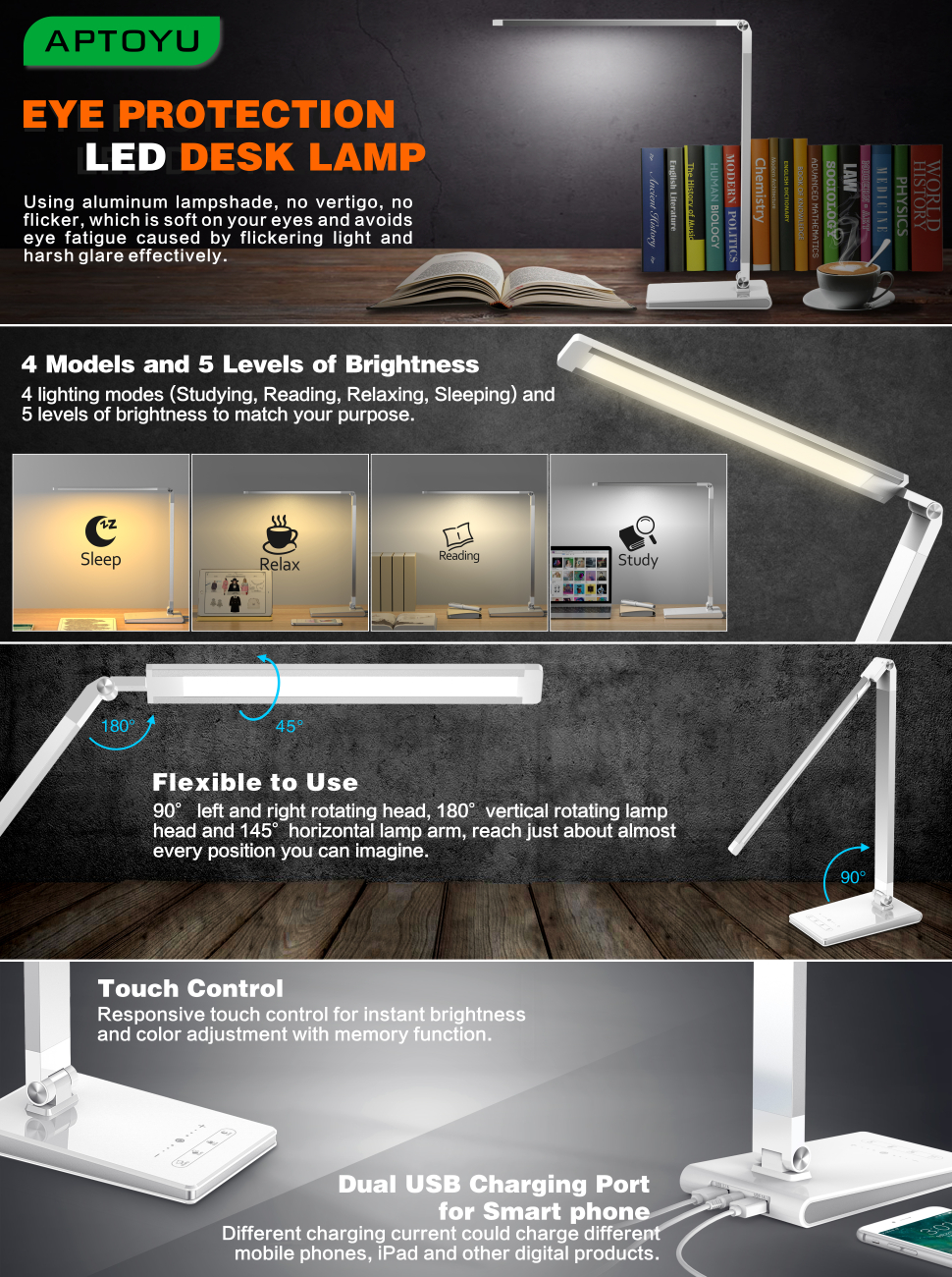 4 Lighting Modes (Studying Reading Relaxing Sleeping) and 5 levels of brightness to match your purpose ensuring that youu0027re able to find the perfect ... & Aptoyu LED Dimmable Desk Lamp with 4 Lighting Modes (Studying ... azcodes.com
