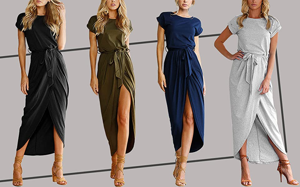 03b52471b1 Yidarton Sexy Casual Crew Neck Solid Color Cotton Summer Beach Long Maxi  Dresses for Ladies. Unique style ...
