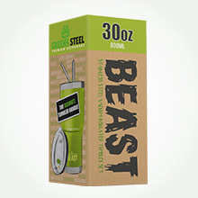 Beast 30oz green tumbler packaging