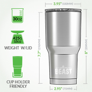 Beast 30oz tumbler dimension