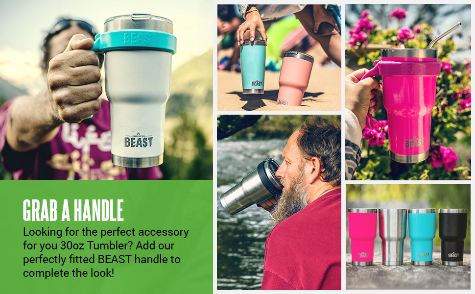 Beast tumbler handle and life style images