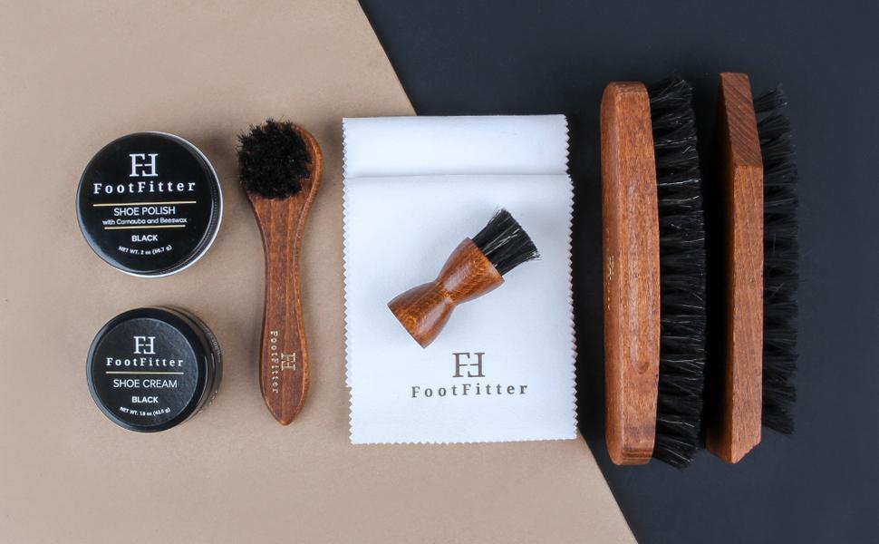 FootFitter Genuine Soft Horsehair Shoe Shine Brush