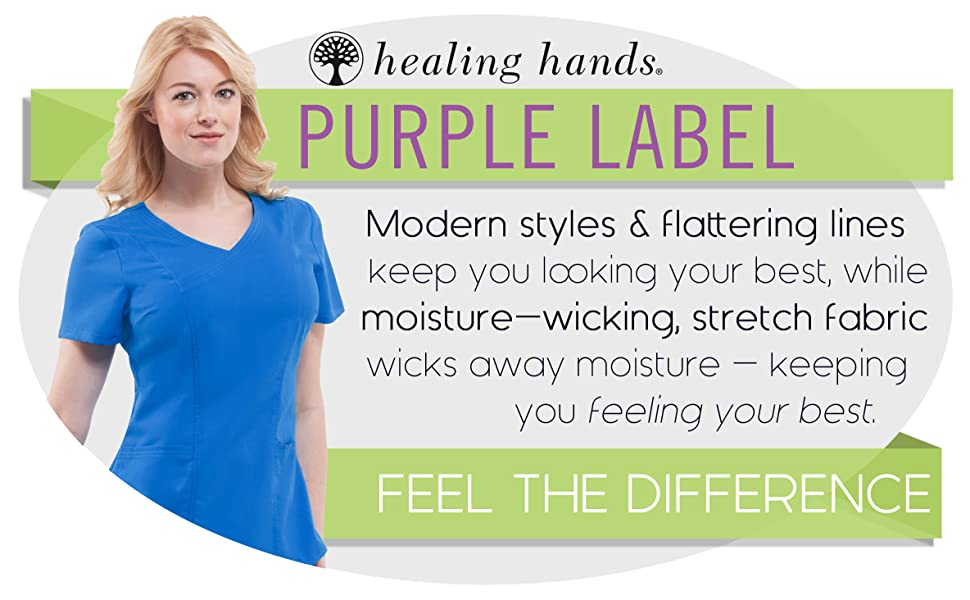 4cf668bc7ec Amazon.com: healing hands Purple Label Women's Jordan 2172 Mock Wrap ...