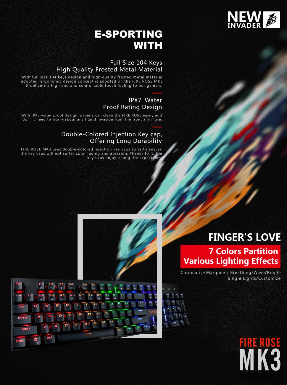 b3c6022e377 Finger's Love--MK3. With a modern look to a vintage design, the FIRE ROSE  e-sport mechanical gaming keyboard ...