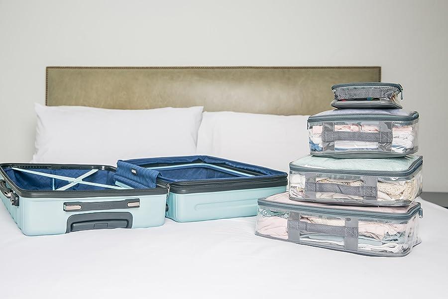 9b92682933d0 Clear Packing Cubes set of 4/Packs 7-10 Days of Clothes/Premium PVC Plastic  Storage Cube (Black)
