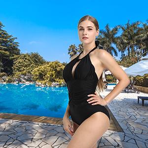 35c5f3ce39e Joyaria Womens Ruched One Piece Swimsuit Tummy Control Slimming Bathing  Suit Retro Vintage Swimwear