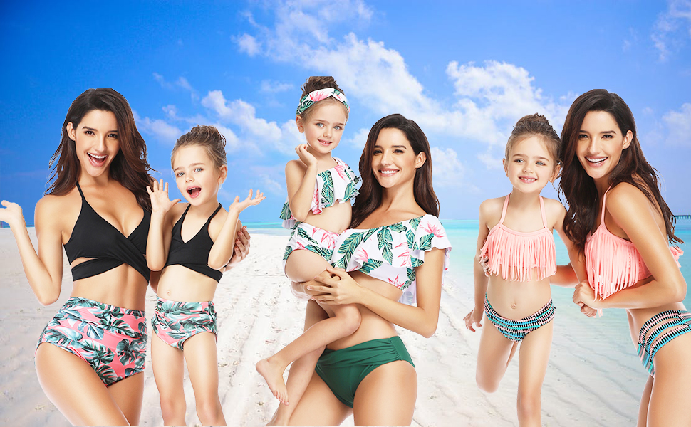 Tropical swimsuit,Swimsuit Family matching swimsuits matching mother daughter swimsuit mom gift matching swimwear Mommy and me Swimsuit