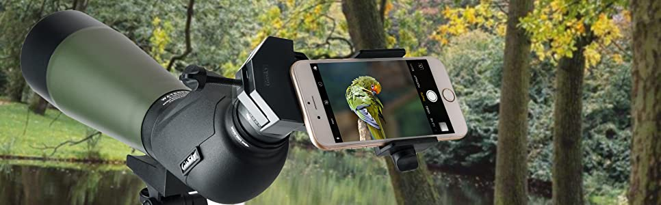 Amazon.com : Gosky Universal Cell Phone Adapter Mount - Compatible with Binocular Monocular Spotting Scope Telescope and Microscope - for iPhone Sony Samsung Moto Etc -Record The Nature of The World : Camera & Photo