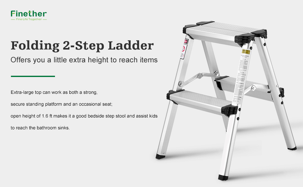 Finether Folding 2 Step Stool Aluminum Double Sided Step