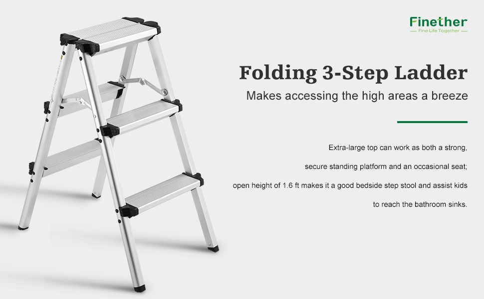 ALUMINUM DOUBLE SIDED STEEP STOOL  sc 1 st  Amazon.com & Finether Folding 3-Step Stool Aluminum Double Sided Step Ladder ... islam-shia.org