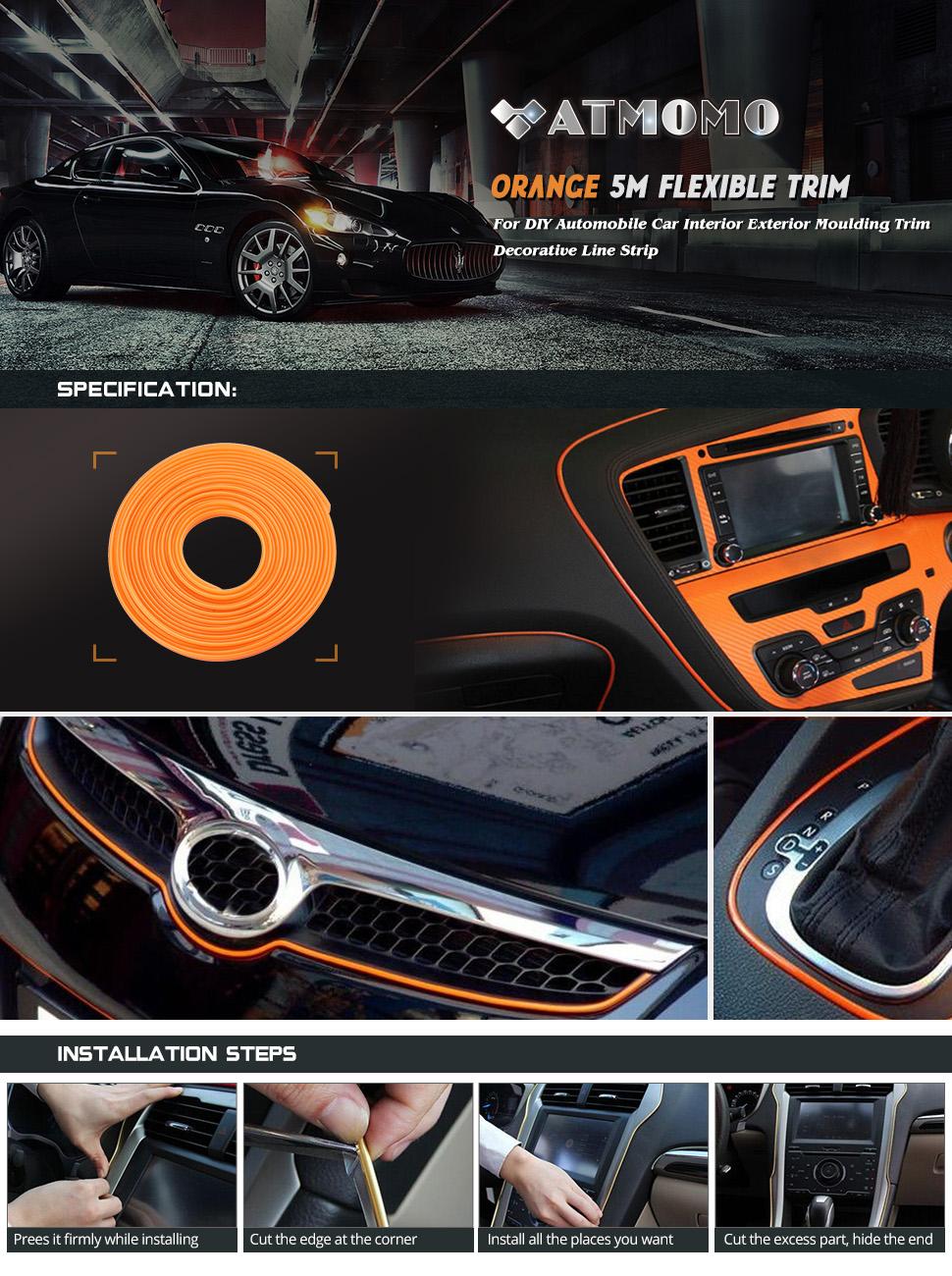 Argento Alamor 5M Car Interior Molding Trim Strip Tipo di Inserto Flessibile Decorazione Cruscotto Linea del Bordo