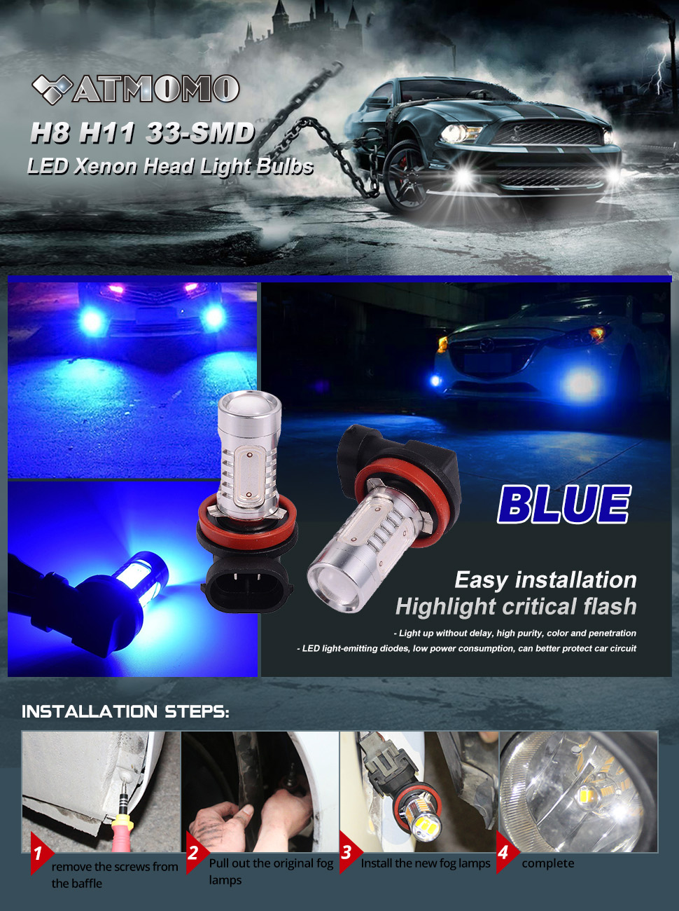 2 Pcs Car H8 H11 33 Smd Led Xenon Head Light Headlight 2005 Dodge Charger Lx 57l V 8 Engine Firing Order And Battery Cable Routing The Product Uses Imported Chips Thin Plate Shaped Design Makes Installation Fit Better More Uniform Illumination This Is Diffusion