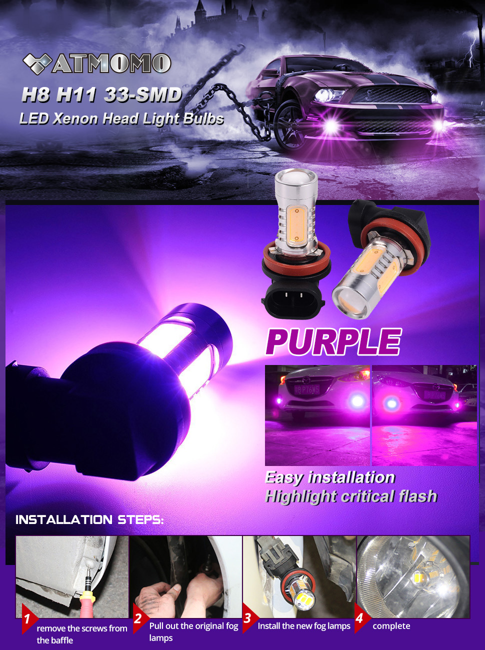 Atmomo Pinkish Purple 12v High Power 75w H11 H8 Cob Led 2012 Chrysler 200 Headlight Wiring Harness Product Description