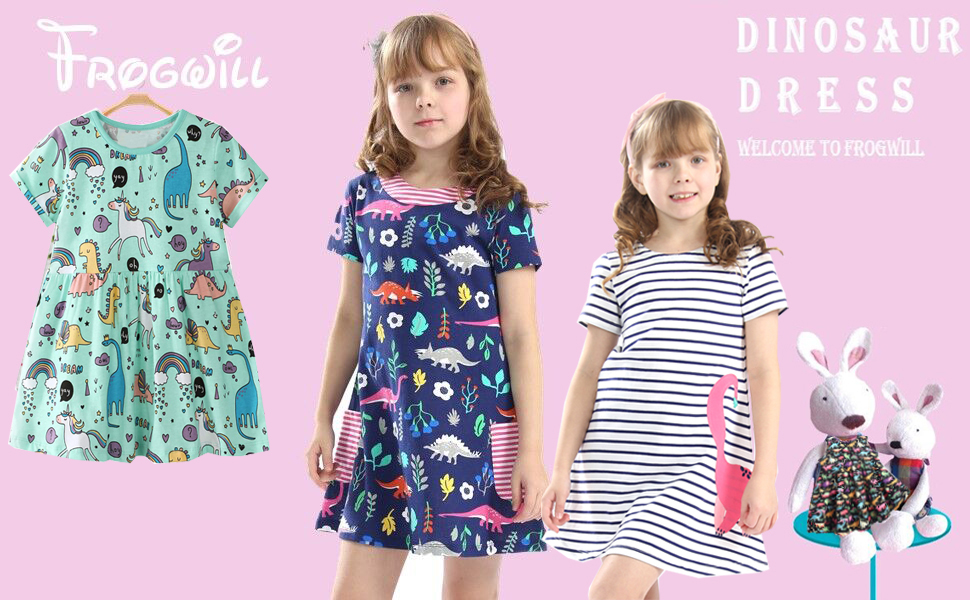 dbd5fbf89 Amazon.com: Frogwill Girls Green Dinosaur Tunic Short Sleeve Summer ...