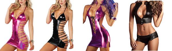 KENROLL Women Sexy Lingerie Nightclub Dress Patent Leather Pole Dance Bodysuit Temptation Clubwear