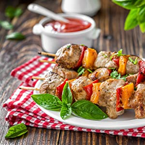 meat vegetable bbq barbecue skewer meat on a stick party event outdoor grill char broiled vegetables