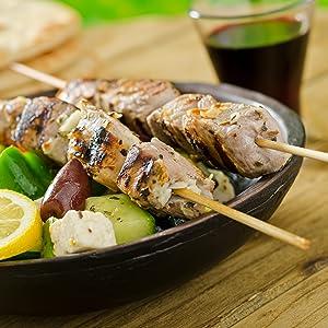 souvlaki meat vegetables Mediterranean greek cuisine pork beef fish seafood skewer smokehouse