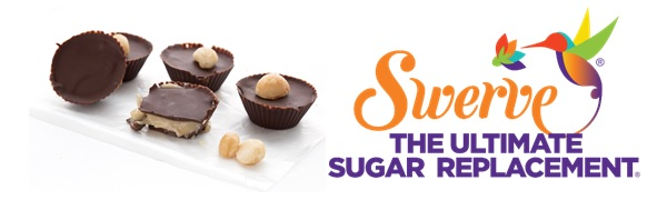 Nut butter cups with chocolate and Swerve Sweetener logo