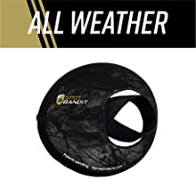 """Eye cover detached from scope with elastic strap and text, """"All weather"""""""