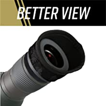 """Front view of scope with eye cover and text, """"Better view"""""""
