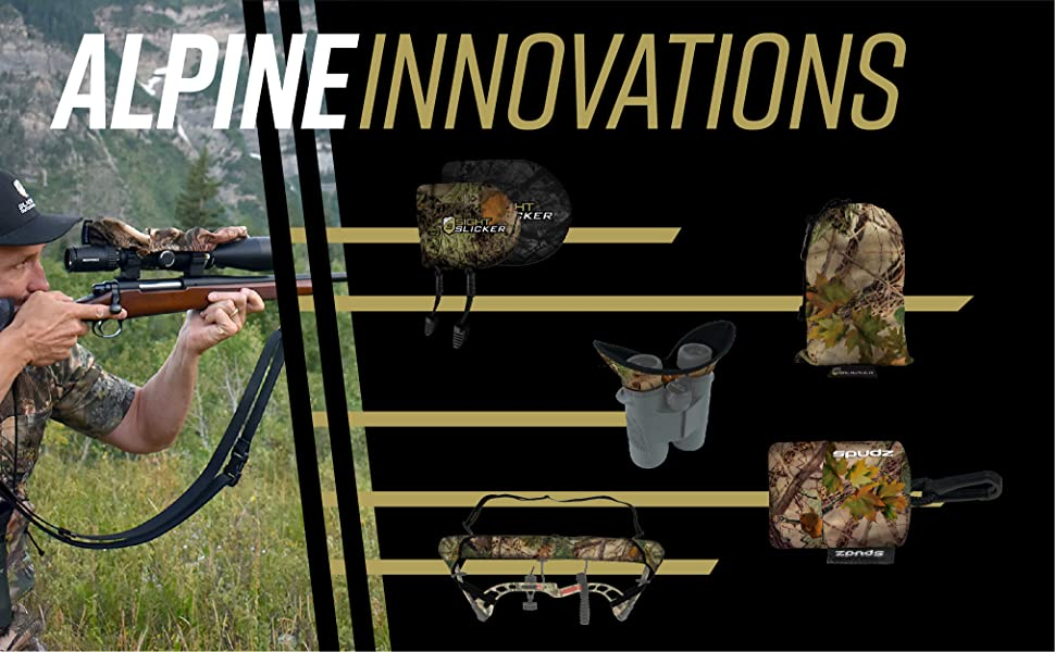 Alpine Innovations brand name with a man shooting gun and range of company products displayed