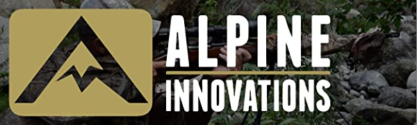 Alpine Innovations logo in front of man shooting outdoors