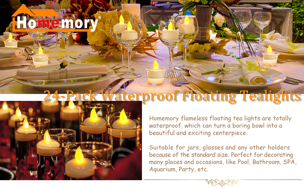 Amazon Homemory 24pcs Waterproof Floating Tealights Led