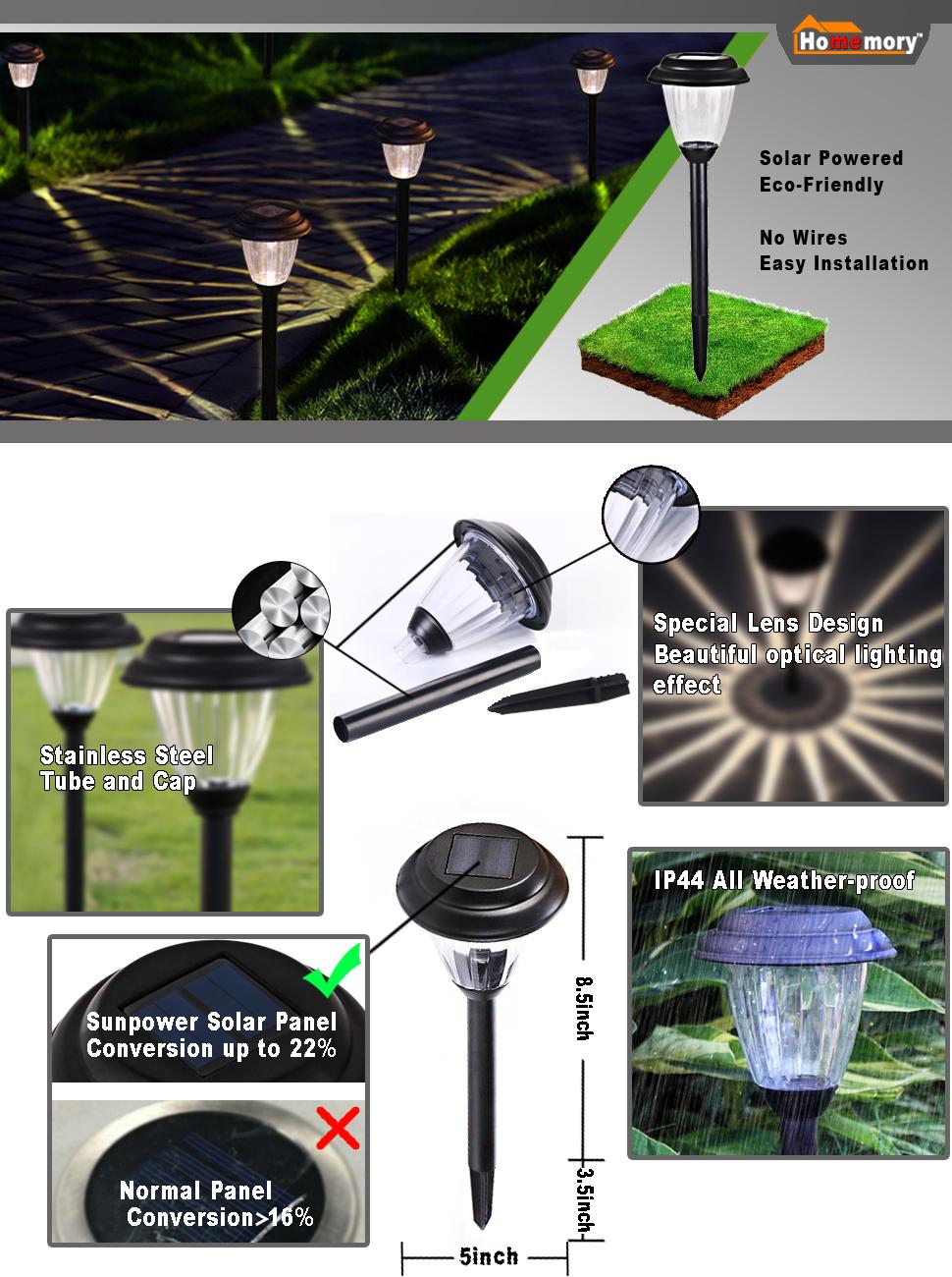 homemory pack of 8 solar garden lights cordless stainless steel ip44 all