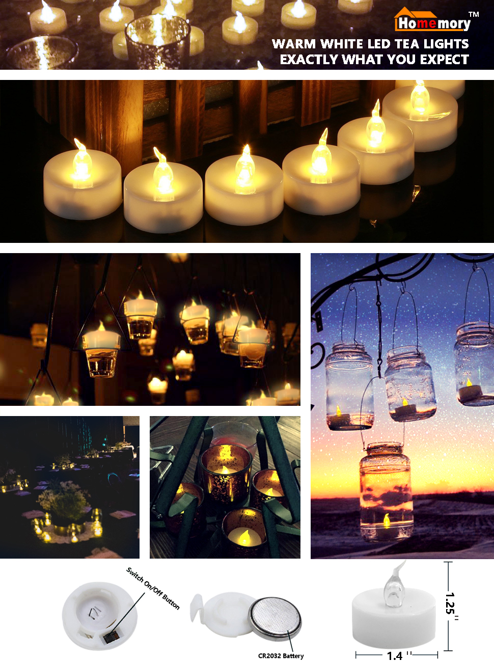 homemory battery led tea lights pack of 24 flameless tealight candle with warm. Black Bedroom Furniture Sets. Home Design Ideas