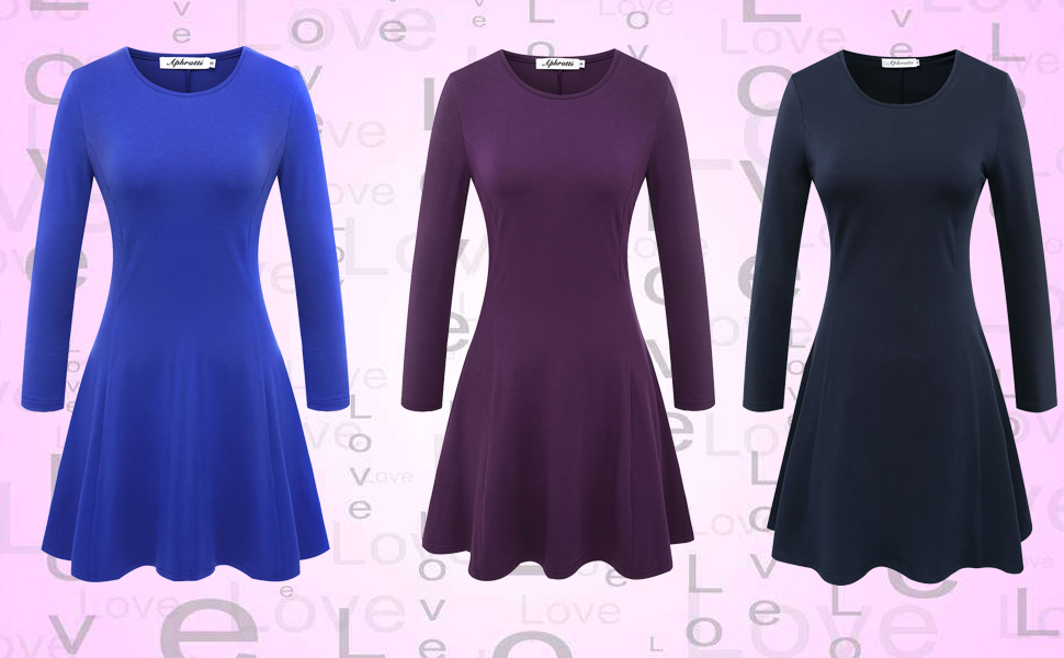 d98e2c0767df Aphratti Women s Long Sleeve Casual Slim Fit Crew Neck Dress at ...