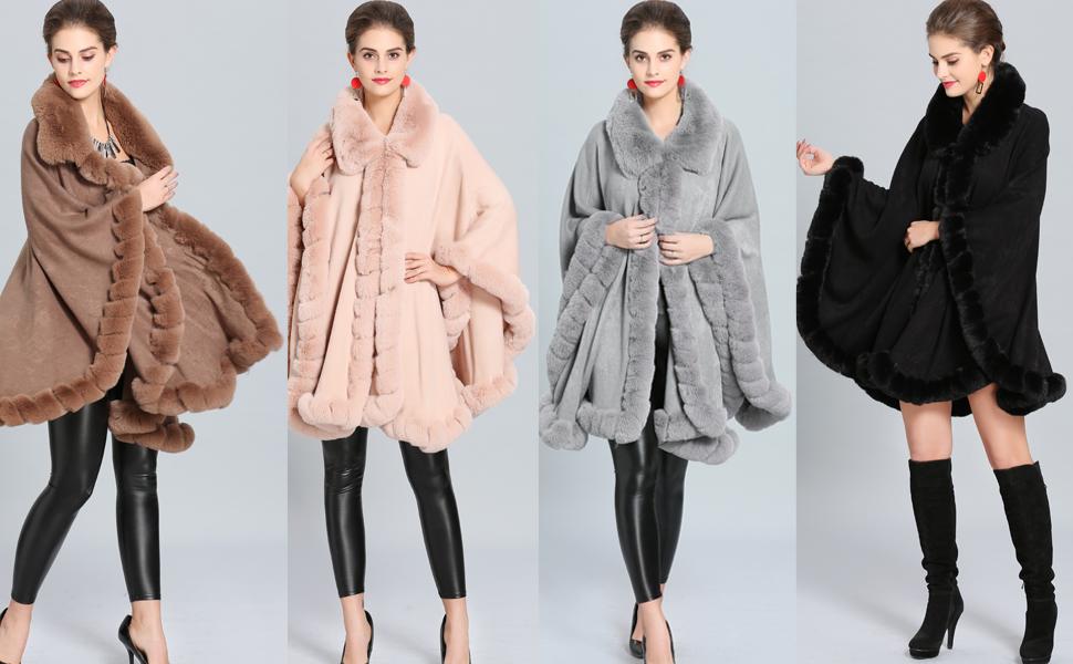 476e312eb6ebb Aphratti Women s Wrap Shawl Cape Coat with Luxury Faux Rex Rabbit Fur  Collar without Arm Holes