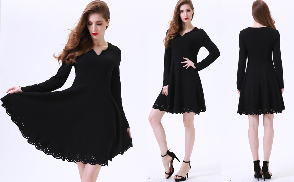 09fda2257 Aphratti Women s Scallop Stretchy Knit Cute Long Sleeve Fit Flare Dress