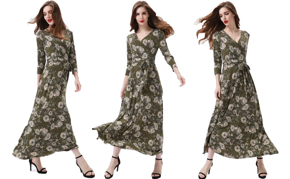 41433b2c098 2018 New Casual Floral Print Faux Wrap Fit and Flare Maxi Long Dresses. A  line summer maxi dress ...