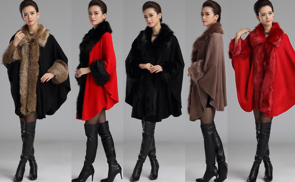 7a3b7ac2155c7 Aphratti Women s Wrap Shawl Cape Coat with Luxury Faux Rex Rabbit ...