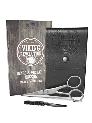 Beard and Mustache Scissors w/Comb and Synthetic Leather Case