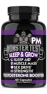 monster testosterone booster pm sleep aid melatonin valerian root strength muscle mass