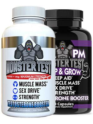 monster test pm testosterone boost combo sleep melatonin valerian root
