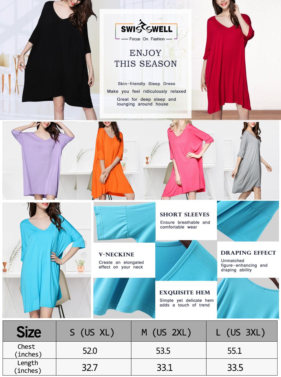 Women Sleep Dress Modal Loose Style Nightgowns V Neck Plus Size