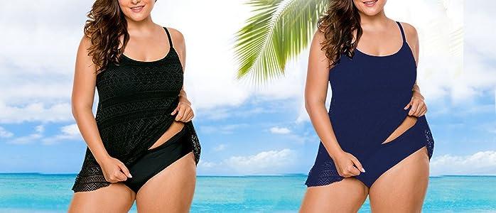 c84c0619f6ed2 SWISSWELL Women s Stripe Tankini Top Bikini Swimwear with Brief Plus ...
